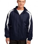 Sport-Tek JST81 Fleece-Lined Colorblock Jacket True Navy/White