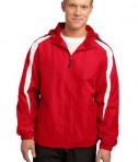Sport-Tek JST81 Fleece-Lined Colorblock Jacket True Red/White