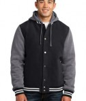 Sport-Tek JST82 Insulated Letterman Jacket Black/Vintage Heather