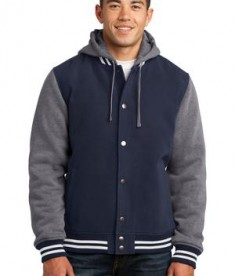 Sport-Tek JST82 Insulated Letterman Jacket True Navy/Vintage Heather
