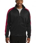 Sport-Tek JST92 Piped Tricot Track Jacket Black/True Red/White
