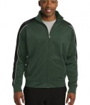 Sport-Tek JST92 Piped Tricot Track Jacket Forest Green/Black/White