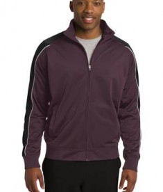 Sport-Tek JST92 Piped Tricot Track Jacket Maroon/Black/White