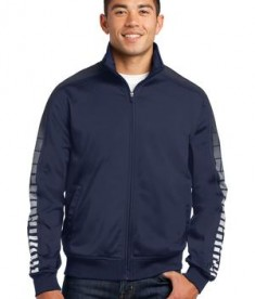 Sport-Tek JST93 Dot Sublimation Tricot Track Jacket True Navy/Iron Grey