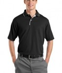 Sport-Tek K467 Dri-Mesh Polo with Tipped Collar and Piping Black/White