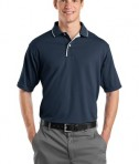 Sport-Tek K467 Dri-Mesh Polo with Tipped Collar and Piping Navy/White