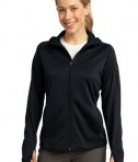 Sport-Tek L248 Ladies Tech Fleece Full-Zip Hooded Jacket Black
