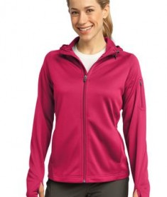 Sport-Tek L248 Ladies Tech Fleece Full-Zip Hooded Jacket Pink Raspberry