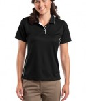 Sport-Tek L467 Ladies Dri-Mesh Polo with Tipped Collar and Piping Black/White