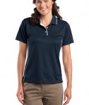 Sport-Tek L467 Ladies Dri-Mesh Polo with Tipped Collar and Piping Navy/White
