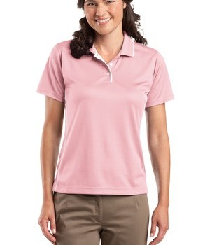 Sport-Tek L467 Ladies Dri-Mesh Polo with Tipped Collar and Piping Pink/White