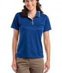 Sport-Tek L467 Ladies Dri-Mesh Polo with Tipped Collar and Piping Royal/White