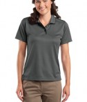 Sport-Tek L467 Ladies Dri-Mesh Polo with Tipped Collar and Piping Steel/Black
