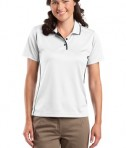 Sport-Tek L467 Ladies Dri-Mesh Polo with Tipped Collar and Piping White/Black