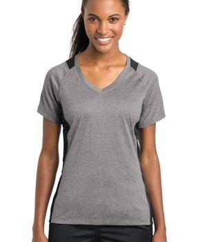 Sport-Tek Ladies Heather Colorblock Contender V-Neck Tee Style LST361 1