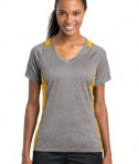 Sport-Tek Ladies Heather Colorblock Contender V-Neck Tee Style LST361