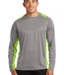 Sport-Tek Long Sleeve Heather Colorblock Contender Tee Vintage Heather/Lime Shock