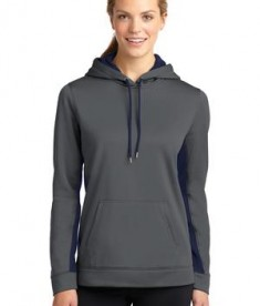 Sport-Tek LST235 Ladies Sport-Wick Fleece Colorblock Hooded Pullover Dark Smoke Grey/Navy