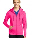 Sport-Tek LST238 Ladies Sport-Wick Fleece Full-Zip Hooded Jacket Neon Pink