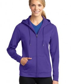 Sport-Tek LST238 Ladies Sport-Wick Fleece Full-Zip Hooded Jacket Purple