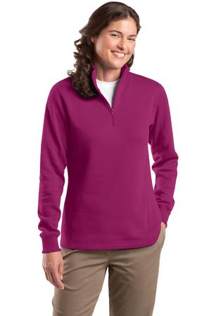 Sport-Tek LST253 Ladies 1/4-Zip Sweatshirt Pink Rush