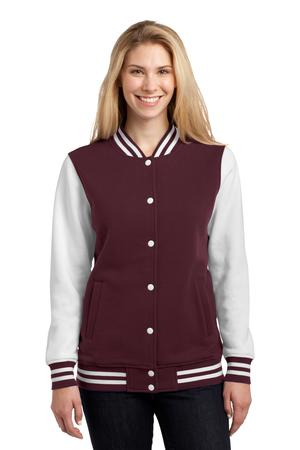 Sport-Tek LST270 Ladies Fleece Letterman Jacket Maroon/White