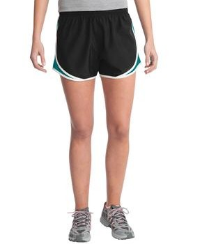 Sport-Tek LST304 Ladies Cadence Short Black/Tropic Blue/White