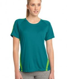 Sport-Tek LST351 Ladies Colorblock PosiCharge Competitor Tee Tropic Blue/Lime Shock