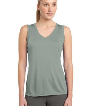 Sport-Tek LST352 Ladies Sleeveless PosiCharge Competitor V-Neck Tee Silver