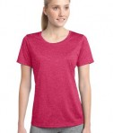 Sport-Tek LST360 Ladies Heather Contender Scoop Neck Tee Pink Raspberry Heather