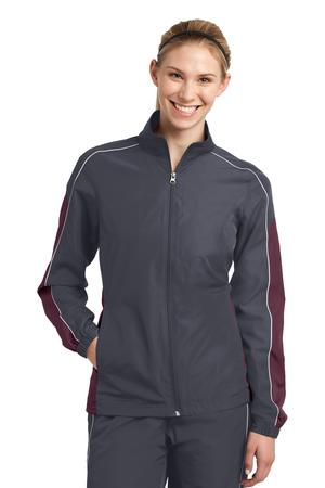 Sport-Tek LST61 Ladies Piped Colorblock Wind Jacket Graphite Grey/Maroon/White