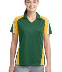 Sport-Tek LST654 Ladies Tricolor Micropique Sport-Wick Polo Forest Green/Gold/White