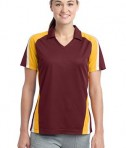 Sport-Tek LST654 Ladies Tricolor Micropique Sport-Wick Polo Maroon/Gold/White
