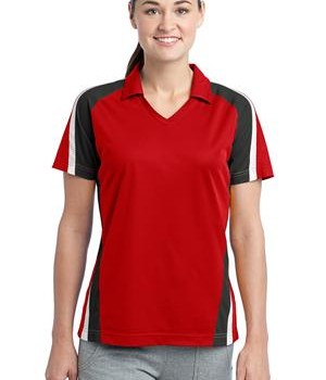 Sport-Tek LST654 Ladies Tricolor Micropique Sport-Wick Polo True Red/Black/White