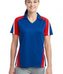 Sport-Tek LST654 Ladies Tricolor Micropique Sport-Wick Polo True Royal/True Red/White