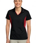 Sport-Tek LST655 Ladies Side Blocked Micropique Sport-Wick Polo Black/True Red
