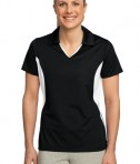 Sport-Tek LST655 Ladies Side Blocked Micropique Sport-Wick Polo Black/White