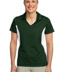 Sport-Tek LST655 Ladies Side Blocked Micropique Sport-Wick Polo Forest Green/White