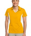 Sport-Tek LST655 Ladies Side Blocked Micropique Sport-Wick Polo Gold/White