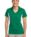 Sport-Tek LST655 Ladies Side Blocked Micropique Sport-Wick Polo Kelly Green/White