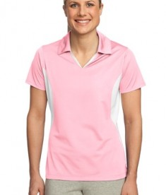 Sport-Tek LST655 Ladies Side Blocked Micropique Sport-Wick Polo Light Pink/White