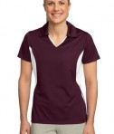 Sport-Tek LST655 Ladies Side Blocked Micropique Sport-Wick Polo Maroon/White