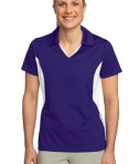 Sport-Tek LST655 Ladies Side Blocked Micropique Sport-Wick Polo Purple/White