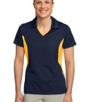 Sport-Tek LST655 Ladies Side Blocked Micropique Sport-Wick Polo True Navy/Gold