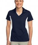 Sport-Tek LST655 Ladies Side Blocked Micropique Sport-Wick Polo True Navy/White