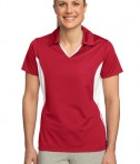 Sport-Tek LST655 Ladies Side Blocked Micropique Sport-Wick Polo True Red/White