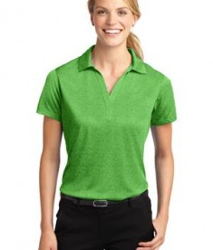 Sport-Tek LST660 Ladies Heather Contender Polo Turf Green Heather