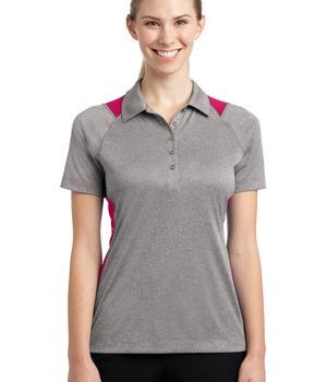 Sport-Tek LST665 Ladies Heather Colorblock Contender Polo Vintage Heather Pink Raspberry