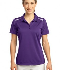 Sport-Tek LST670 Ladies Vector Sport-Wick Polo Purple/White
