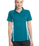 Sport-Tek LST685 Ladies PosiCharge Micro-Mesh Colorblock Polo Blue Wake/White